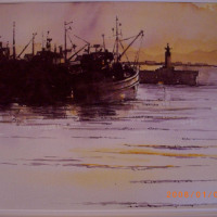 Ray Potter Early Morning Light Kalk Bay Watercolour