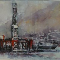 Di-White---Oil-Rig-Cape-Town---Watercolour---Commended