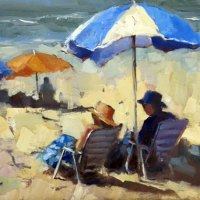 Karen-Burns-Oil-Commended-Under-the-brolly