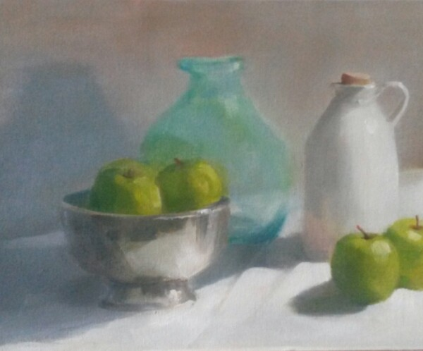 White jar and apples