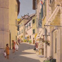 Bill-Brown-FSASA-Sunny-Street-Radda-Tuscany-Highly-Commended-Acrylic