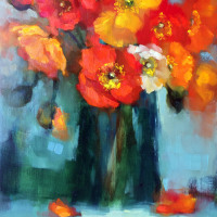 Wyn-Rossouw-Poppies-in-Green-Glass-Commended-Oil